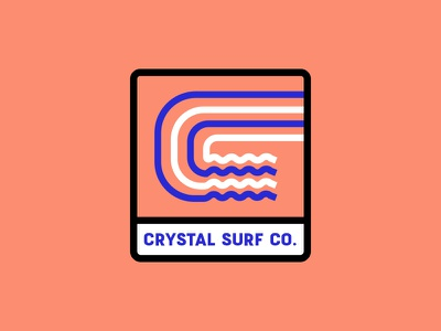 Crystal Surf Co. ocean branding orange logo tsunami tide sport c water wave surfing surf crystal