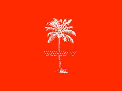 Wavy sun fun red wavy beach palm palm tree tree wave