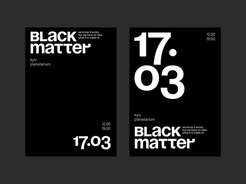 Black matter layout poster bold typography