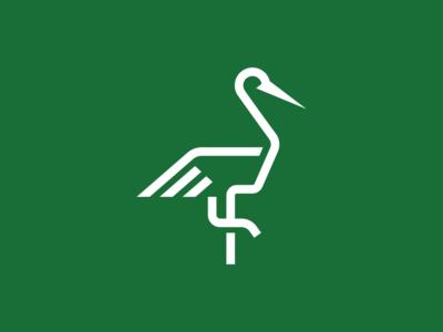 Crane line simple logo design crane bird logo