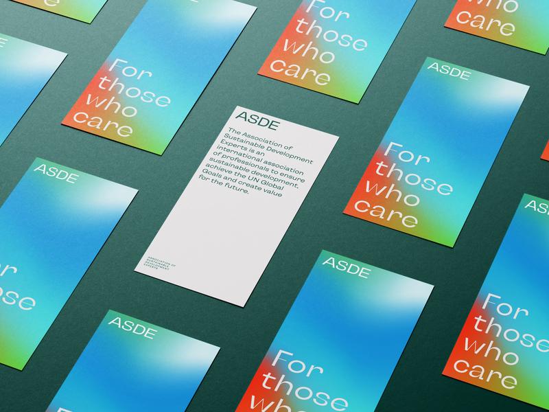 ASDE Identity posters sustainability logo gradient typography branding