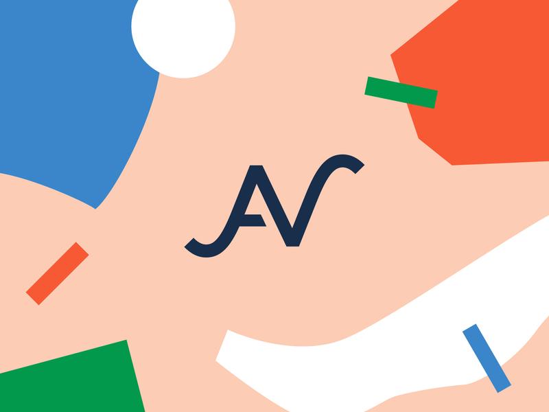 AV logo abstract text logo mark monogram geometric shapes logo