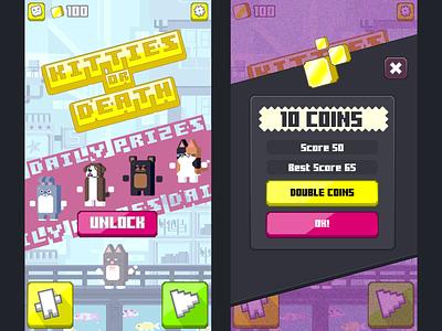 Kitties or Death UI/UX WIP neo tokyo snes ui artist ui art ui design good times ux mobile game ios indie game android