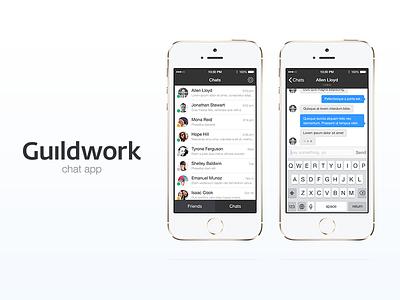 Guildwork Chat app guildwork ui chat iphone app ios7 ios 7 mobile ios flat flat design