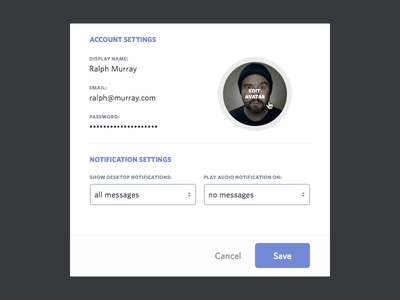 Account Settings account setting account settings modal dropdown ui flat avatar edit flat design pop up notifications