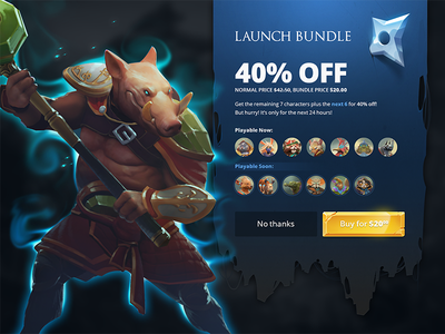 Launch Bundle game ui game bundle launch ui ios ios game moba tablet ux contestants mobile