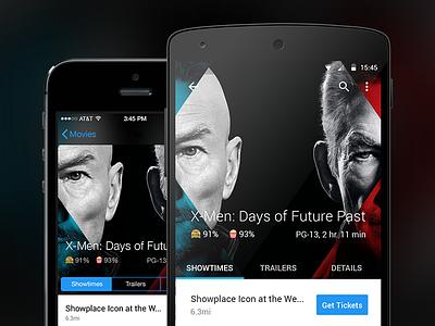 Movies flat design ui ux android ios app phone showtimes movie ios app android app flat