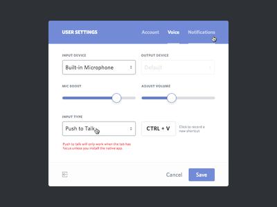 User Settings ui flat flat design modal account user settings user settings edit notifications