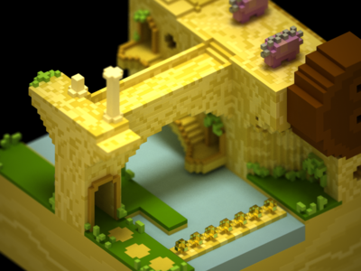 Walleye Tumble Temple mario toad magicavoxel voxel iso 3d