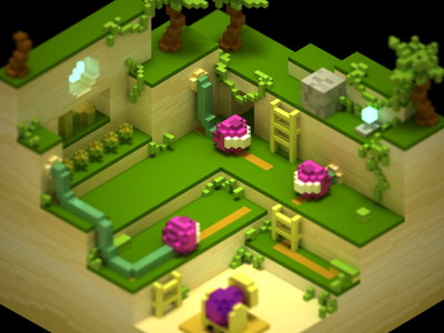 Turnip Cannon Jungle mario toad magicavoxel voxel iso 3d