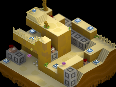 Up 'n' Down Desert mario toad magicavoxel voxel iso 3d
