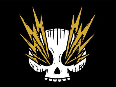 Zap lines design logo simple lightning bolt lightning skull illustration