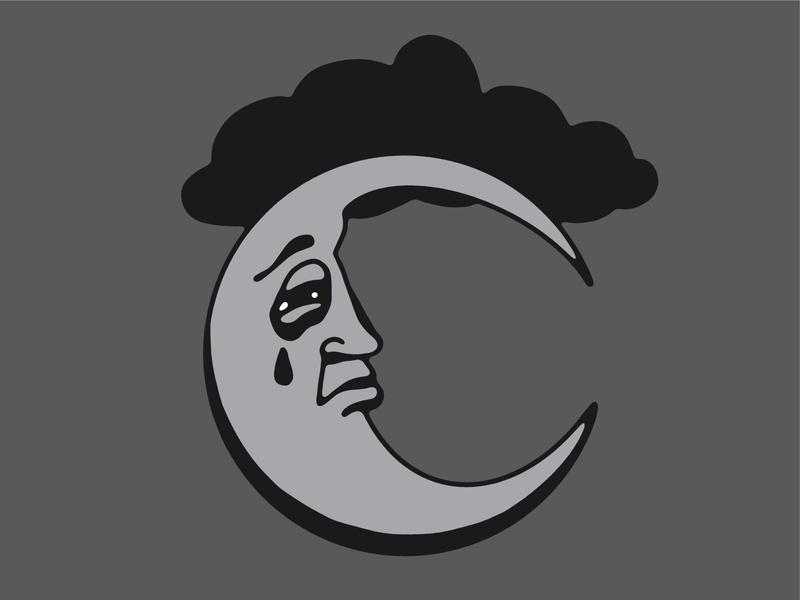 Sad Moon crescent lunar lines cloud gray emotion sad night moon simple illustration