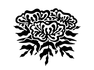 Flowers leaves wavey black and white abstract floral flower illustration