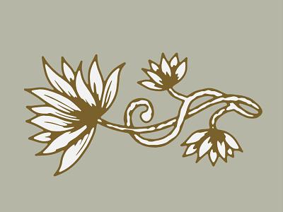 Lotus organic hand drawn lotus flower peaceful color palette decorative floral flower branding lines illustration