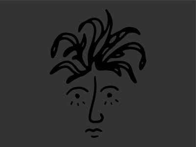 Face hair hand drawn graphic design simple logo lines branding portrait face abstract