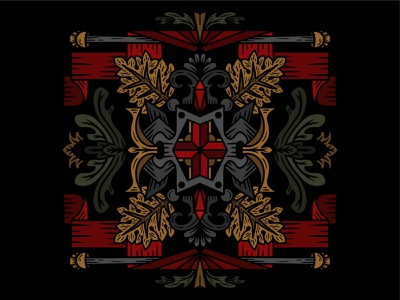 Fancy Things lines illustration symmetrical symmetry leaves ribbon decorative illustration decorative