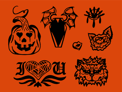 Halloween Hearts illustration black and white simple spooky valentines day halloween hand drawn lines