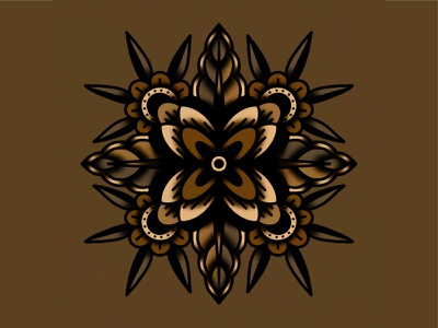 Flowers shading shapes traditional monochromatic symmetrical symmetry floral flower lines illustration