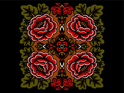 Red Flowers lines symmetrical symmetry decorative shading pattern floral flowers illustration