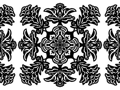 Decorative Pattern symmetry pattern decorative floral simple black and white lines illustration