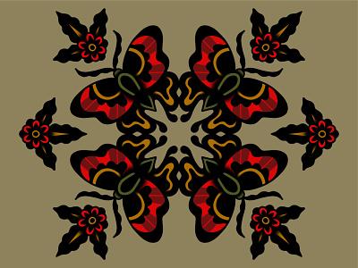 Butterflies bold negative space symmetry butterfly simple shapes illustration