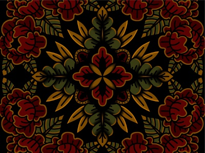 Floral Design traditional floral flowers leaves repeating symmetry shapes lines illustration