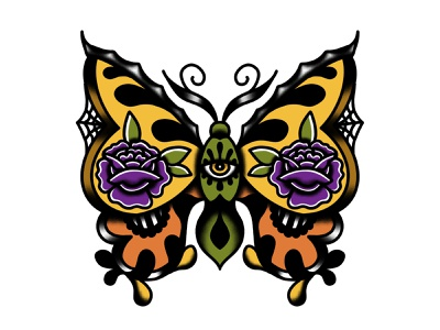 Butterfly abstract flowers spider web eye spooky bold bold color butterfly traditional illustration