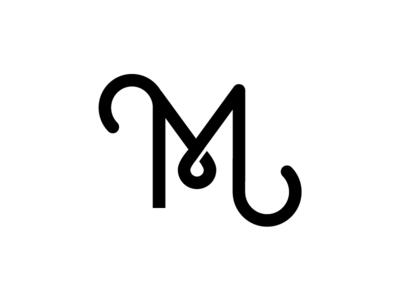 M dropcap letter typeography branding modern lines curves simple logo identity monogram vector