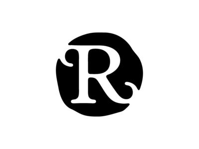 R brand monogram branding design letter drop cap icon mark identity typography logo