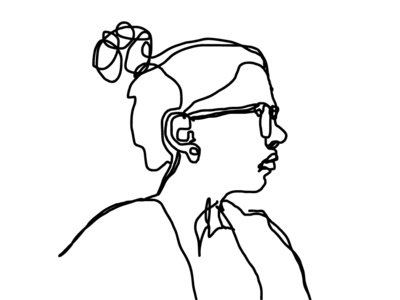 Portrait gesture draw ink black and white simple selfportrait person female hand drawn lines illustration