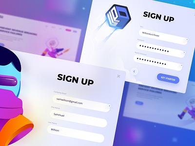 Up9 - Sign Up - Web form app signup branding illustration web gradient flat design ux ui