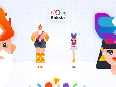 Enksia - Character Exploration 02 simple minimal character children educational color illustration vector gradient design flat ui