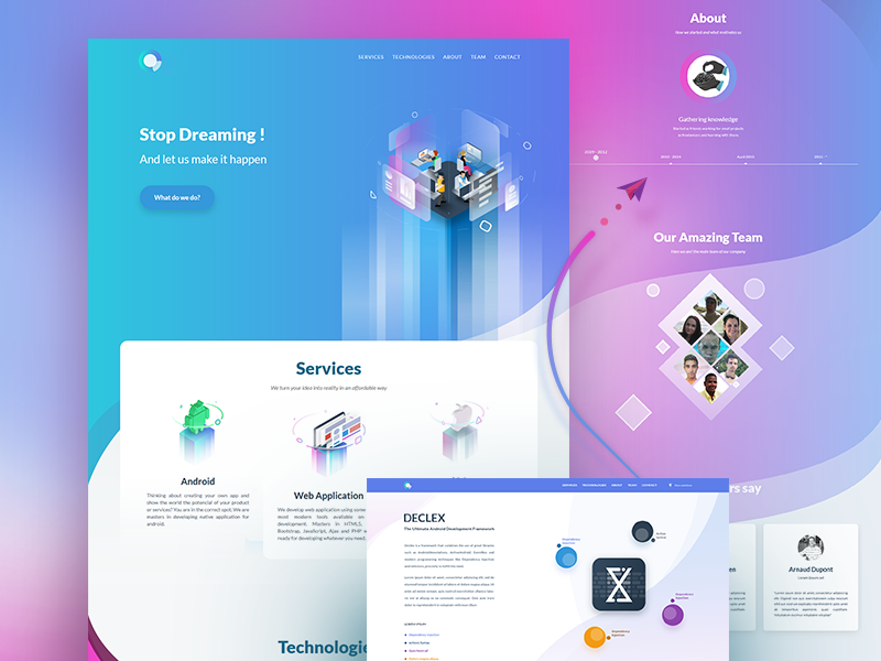 Dspot - Web developer team software isometric flat gradient illustration app landing page ux ui web