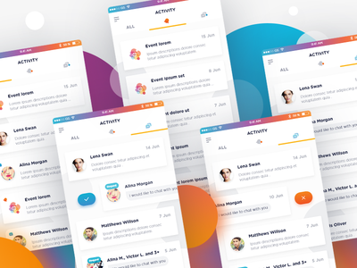 Caper Day 6 - Activity Section tabs notification activity gradient flat app mobile android ios design ux ui