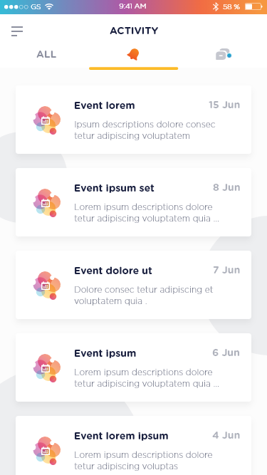 1 activity   notification event tab