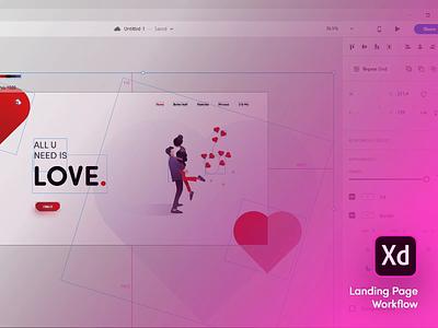 Landing page workflow tutorial design love xd landign page workflow flat video gradient web app ux ui