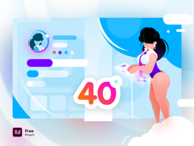 Working hot with cold feeling appearance interface workspace beauty elegant woman resource project xd free cold sexy work vector gradient illustration ui design hot