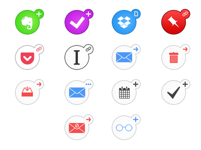 Action Icons actionable icon evernote omnifocus dropbox pinboard pocket instapaper email todo reading list calendar
