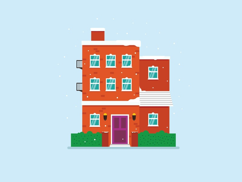 Snowy minimal house vector illustration flat design