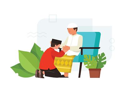 Happy eid mubarak 1440 H icon web ui eid al-fitr eid mubarak vector minimal flat illustration design
