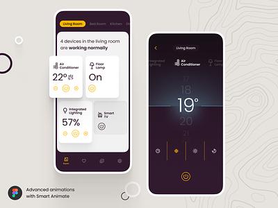 Smart Home App with Figma Smart Animate • Freebie freebie dailyui colors app ux ui smarthome clean muzli ios motion live video fribbble figma aniamtion