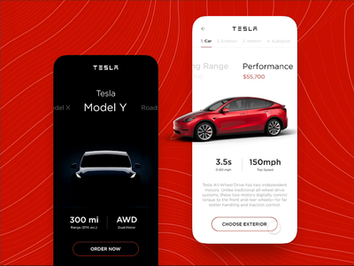 Tesla Model Y — Mobile App vehicle tesla speed review motion graphics clear design car automotive ux animation dailyui ui