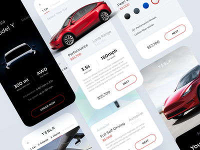 Tesla Model Y – Concept Ui • Freebie Figma clean dailyui red vehicle ux ui speed review graphics clear design automotive freebie figma tesla car app