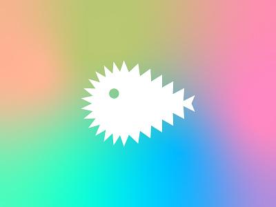 Pufferfish pictogram minimal pufferfish mark illustration digital colour icon branding symbol logo design graphic