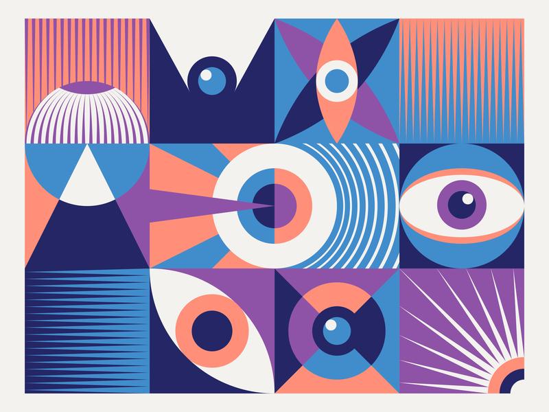Vision composition vision eye geometric illustration geometric design colour art vector illustration design graphic