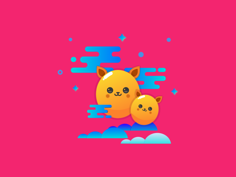 Happy Fluffs symbol stickers sketch illustration happy graphic flat design colorful