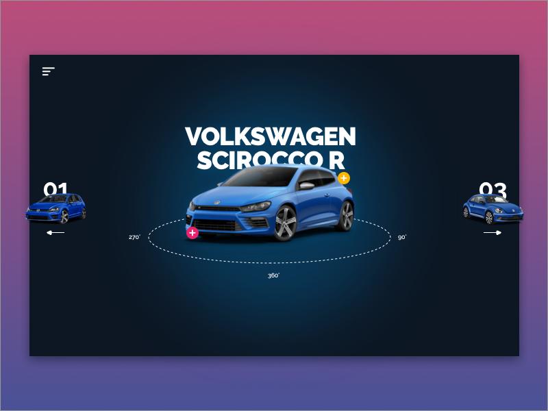 Volkswagen Concept + FREE Sketch file scirocco volkswagen ux ui typography type sketch gradient free design branding app