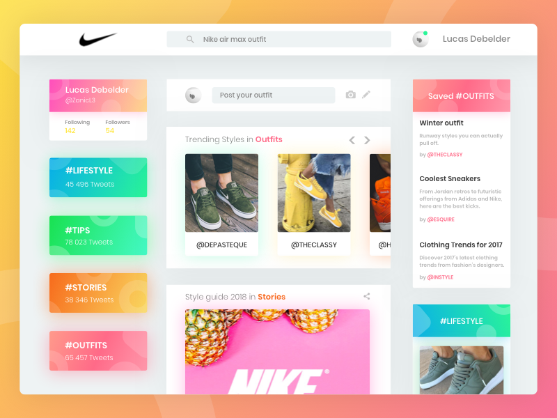 Nike Outfit App (Twitter style) fashion tags trending ui ux webpage website twitter nike shoes design branding