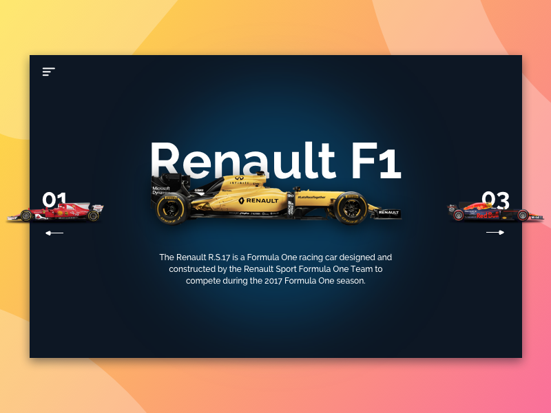 Renault F1 Showcase colorful gradient ux ui typography sketch showcase f1 renault design branding app